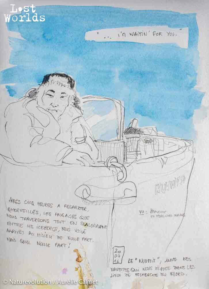 Portrait du chasseur inuit Ingkasi qui nous mène d'un fjord à l'autre à bord de son bateau.