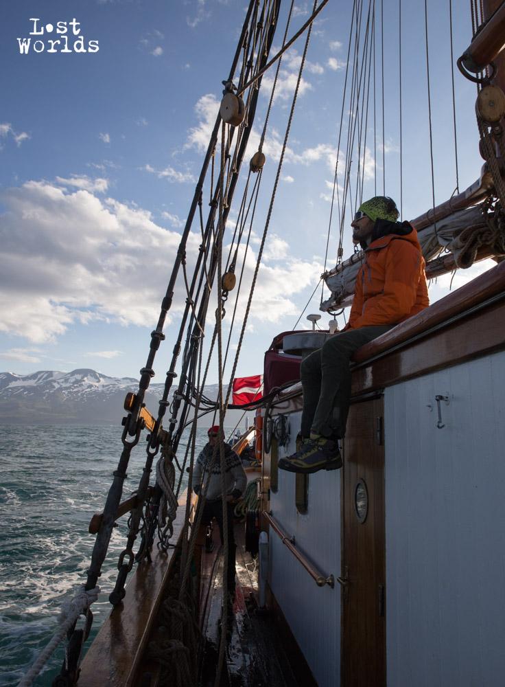 Le Donna Wood quitte les côtes de l'Islande. (Crédit Photo Yann Bigant / Naturevolution)