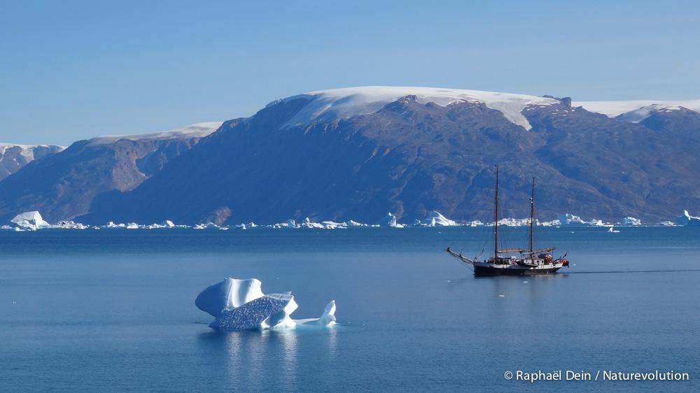 Le Donna Wood s'approche de notre camp d'Harefjord.