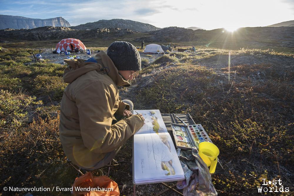 Paysages inspirants pour la dessinatrice Aurélie dans le camp de baie d'Harefjord.