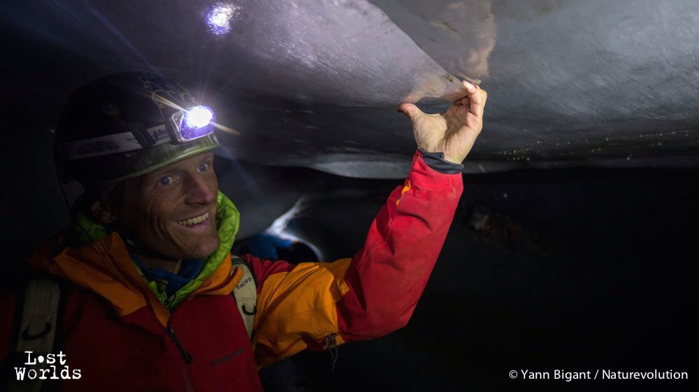 The expedition leader Evrard Wendenbaum in the exit tunnel of the Edward Bailey glacier