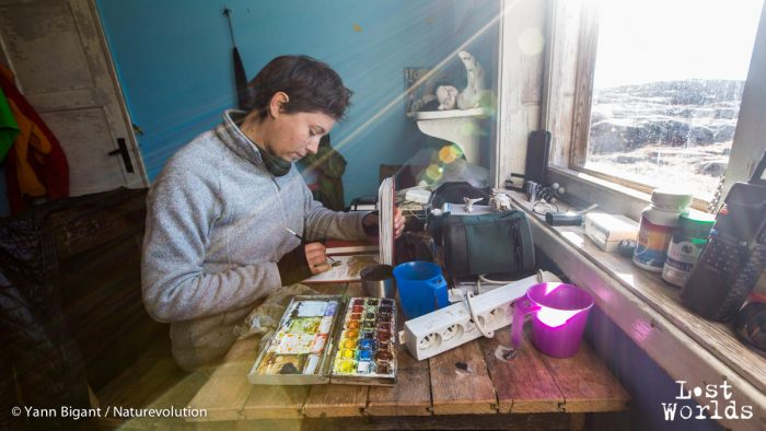 Abritée du vent dans la cabane de Sydkap, Aurélie peaufine ses dessins de la journée.